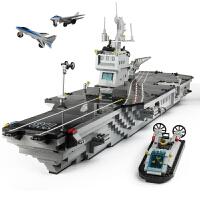 积木军事大型航母战舰儿童拼装模型益智玩具3-6-10岁男孩礼物