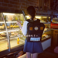 新款韩国日系原宿日文元气潮刺绣牛奶瓶原宿可爱学生双肩包大容量书包
