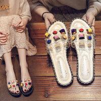新款水钻平底凉拖鞋女 时尚百搭一字拖鞋女 户外沙滩凉鞋女士港风拖鞋