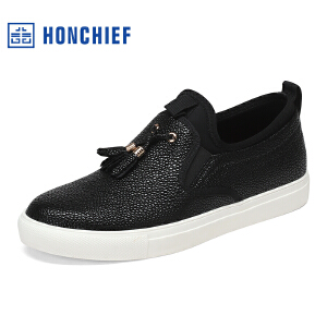 HONCHIEF 红蜻蜓旗下 2017春季新款时尚拼接潮流板鞋舒适男单鞋子