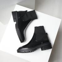 欧美2018新款圆头拼接弹力布袜靴厚底平底粗跟黑色马丁靴短靴女潮