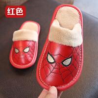 儿童棉拖鞋冬季蜘蛛侠可爱卡通小孩居家男女宝宝防水保暖真皮拖鞋