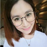 2018082601091722018新款复古眼镜框女款潮韩版圆形近视眼镜架配成品眼睛男全框金属平光镜