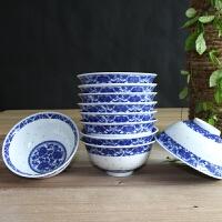 青花瓷碗套装家用复古商用5英寸玲珑陶瓷碗小碗吃饭碗景德镇餐具