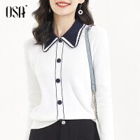 【3折折后价:186元 叠券更优惠】OSA欧莎春装2021年新款女白色娃娃领打底针织衫春秋洋气内搭毛衣上衣