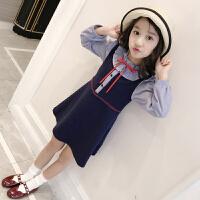 女童长袖连衣裙童装女春装2018新款中大童韩版花边假两件儿童裙子 藏青预售年前发货