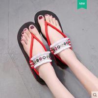 新款波西米亚平底海边沙滩鞋凉鞋女仙女风网红度假罗马鞋百搭
