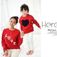 秋装一家三口新年亲亲子装幼儿园表演服装长袖红色卫衣圣诞衫家庭装 红色 妈妈L(105-115斤)