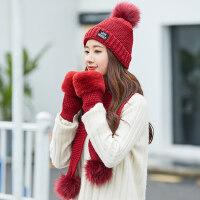 女士保暖加厚时尚针织帽 女手套女围巾女帽子三件套 新品保暖纯色帽子套装