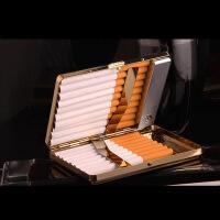 20只装充电打火机一体金属超薄个性点烟器创意烟盒带usb充电打火机个性时尚礼品防压烟盒 金色花纹随机