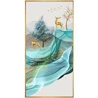 玄关装饰画北欧风格现代简约玄关装饰画走廊过道轻奢大气发财鹿挂画晶瓷画竖版壁画
