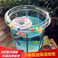 家用游泳池新生儿童充气加厚保温婴儿游泳池折叠家用大小号宝宝洗澡游泳桶圆
