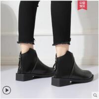 加绒瘦瘦靴网红粗跟短靴女秋冬季新款韩版马丁靴学生裸靴女鞋