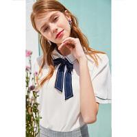 【2件2折到手价:92元】秋水伊人衬衫2020夏装新款女装韩版洋气设计感娃娃衫雪纺衫短袖上衣