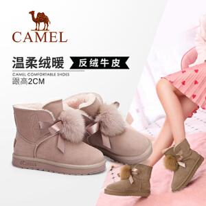 Camel/骆驼女鞋 2018冬季新款 平跟舒适时尚甜美少女短筒雪地靴女