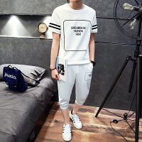 2018新款大童男装夏装短袖-岁胖男孩初中学生青少年男T恤上衣休闲套装 白色 M
