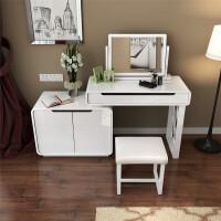 现代简约烤漆梳妆台组合 卧室小户型多功能迷你电脑化妆一体桌 组装