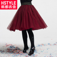 【2件4折后到手价:56元】韩都衣舍童装2019春装新款女童网纱公主半身裙新年红裙子TR9029堇