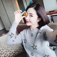 欧美秋季套头圆领星星图案金线毛衣衫打底衫外穿女装 灰色