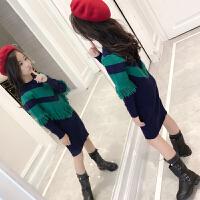 女童毛衣套头2017新款公主屋童装秋中大童长款针织衫儿童毛衣裙 绿色
