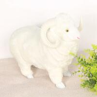 仿毛动物羊会叫绵羊模型玩具场景小绵羊摆件工艺品家居装饰品