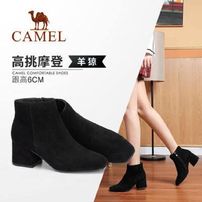 Camel/骆驼女鞋 2018冬季新品时尚优雅方头拉链靴子舒适保暖短靴