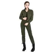 军迷工装女士春秋夏套装薄款三件套短款外套长裤 军绿色