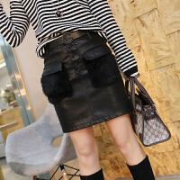 裙子女春季新款韩版女装短裙修身显瘦兔毛半身裙高腰pu皮裙A字裙 黑色 26 送腰带