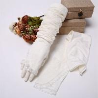 夏季女士开车长款防晒手套 夏天遮阳蕾丝手臂套袖套 半指 均码
