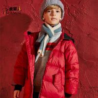 【3折价:200.7】男童红羽绒服中长款2019秋冬新款儿童中大童加绒加厚保暖时尚外套