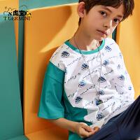 【3件2折:49.8元】小虎宝儿儿童t恤男童短袖2021夏装新款纯棉中大童宽松洋气