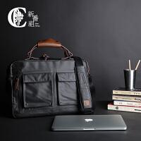 新款复古男包手提包潮公文包商务男士电脑包单肩包斜挎包休闲包帆布包 黑色(14寸) 商务的味道
