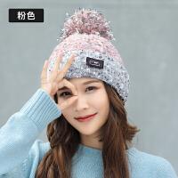 帽子女秋冬加厚时尚甜美毛球百搭韩版针织英伦冬季可爱毛线帽