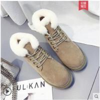 冬季新款英伦风加绒毛毛马丁靴女短靴棉鞋网红靴子学生女鞋子