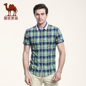 骆驼男装 夏季新款修身柔软尖领日常休闲格子衬衫短袖衬衣男