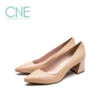 CNE2019春夏新款尖头浅口简约粗跟高跟鞋通勤鞋女单鞋AM57251