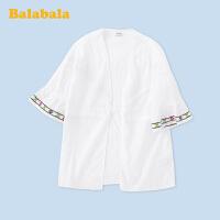 【3件4折价:83.96】巴拉巴拉儿童外套女童民族风上衣中大童2020新款夏装轻薄洋气复古