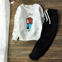 女童运动套装2018春装新款中大童儿童两件套韩版休闲卫衣秋装童装 白色 现货