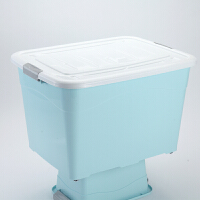 塑料收纳箱大号玩具带轮子带盖整理箱衣服储物箱车载收纳盒汽车后备箱杂物收纳用品 北欧蓝 (加厚升级款) 套装(220L+