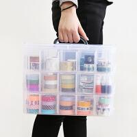 简约可叠加式三层收纳盒胶带透明收纳盒收纳箱手账文具玩具收纳箱Q