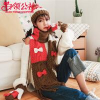 帽子 女士冬季新款韩版可爱毛线学生帽子围巾手套三件套女式连帽围脖精美礼盒套装