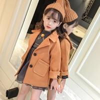 韩版2017新款女童毛呢外套中长款加厚儿童妮子公主女宝宝呢子大衣 棕色