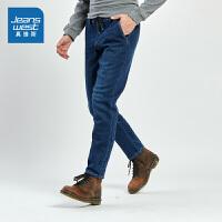 [秒杀价:38.9元,年货节限时抢购,仅限1.15-19]真维斯男装 冬装新款 时尚慢跑牛仔裤