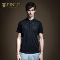 PINLI品立2020夏季新款男�b�C花短袖T恤POLO衫男士上衣B202512260