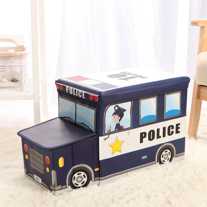 儿童玩具收纳凳子储物凳可坐多功能折叠椅创意宝宝卡通整理箱神器 藏青色 带头警车 儿童玩具收纳凳