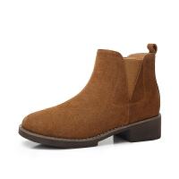 camel骆驼女鞋新款马丁靴冬季女靴子粗跟英伦短靴秋单靴切尔西靴女
