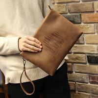 男包 新款男士手包大容量手拿包信封包软皮休闲夹包韩版疯马皮 1137-2森林咖啡 全场满2件送手包