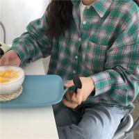 韩国春装新款大码宽松百搭格子衬衫女长袖外搭衬衣外套学生潮