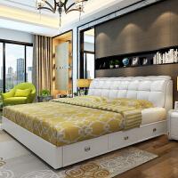 皮床主卧现代简约1.8米软包双人婚床1.5m大气皮艺功能储物床 +三抽+5D乳胶床垫+2柜