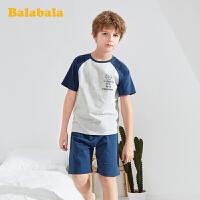 巴拉巴拉儿童睡衣夏季薄款2020新款男童家居服小孩卡通印花时尚男